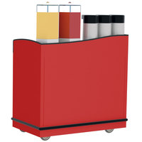 Lakeside 8708RD Stainless Steel Full-Service Hydration Cart with Adjustable Universal Ledges and Red Laminate Finish - 44 3/4 inch x 25 3/4 inch x 42 1/2 inch