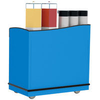 Lakeside 8708BL Stainless Steel Full-Service Hydration Cart with Adjustable Universal Ledges and Royal Blue Laminate Finish - 44 3/4 inch x 25 3/4 inch x 42 1/2 inch