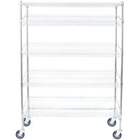 Regency Chrome 5-Shelf Angled Mobile Merchandising Rack - 18 inch x 60 inch x 69 inch