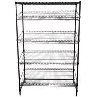 Regency Black Epoxy 5-Shelf Angled Stationary Merchandising Rack - 24 inch x 48 inch x 74 inch