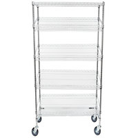 Regency Chrome 5-Shelf Angled Mobile Merchandising Rack - 18 inch x 36 inch x 69 inch