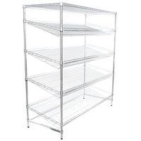 Regency Chrome 5-Shelf Angled Stationary Merchandising Rack - 24 inch x 60 inch x 74 inch