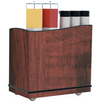 Lakeside 8708RM Stainless Steel Full-Service Hydration Cart with Adjustable Universal Ledges and Red Maple Laminate Finish - 44 3/4 inch x 25 3/4 inch x 42 1/2 inch