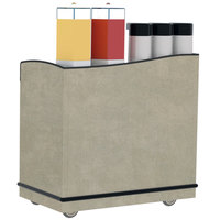 Lakeside 8708BS Stainless Steel Full-Service Hydration Cart with Adjustable Universal Ledges and Beige Suede Laminate Finish - 44 3/4 inch x 25 3/4 inch x 42 1/2 inch