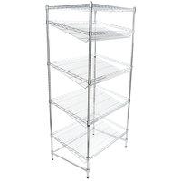 Regency Chrome 5-Shelf Angled Stationary Merchandising Rack - 24 inch x 36 inch x 74 inch
