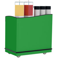 Lakeside 8708G Stainless Steel Full-Service Hydration Cart with Adjustable Universal Ledges and Green Laminate Finish - 44 3/4 inch x 25 3/4 inch x 42 1/2 inch