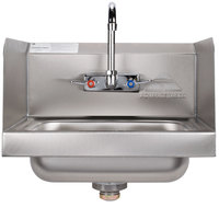 Advance Tabco 7-PS-66 Hand Sink with Splash Mounted 4 inch Gooseneck Faucet and Side Splash Guards - 17 1/4 inch