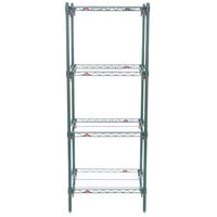 Metro A316K3 Super Adjustable Super Erecta 4-Shelf Metroseal 3 Wire Stationary Starter Shelving Unit - 18 inch x 24 inch x 63 inch