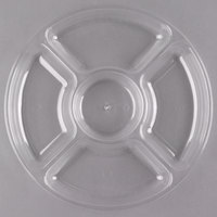 Fineline D12050.CL Innovative Caterware 12 inch Round Clear Plastic 5-Compartment Tray
