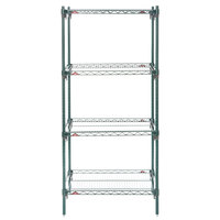 Metro A326K3 Super Adjustable Super Erecta 4-Shelf Metroseal 3 Wire Stationary Starter Shelving Unit - 18 inch x 30 inch x 63 inch