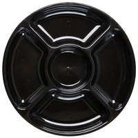 Fineline D12050.BK Innovative Caterware 12 inch Round Black Plastic 5-Compartment Tray