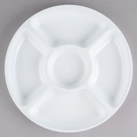 Fineline D12050.WH Innovative Caterware 12 inch Round White Plastic 5-Compartment Tray