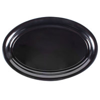 Fineline 484.BK Innovative Caterware 21 inch x 14 inch Black Plastic Oval Cater Tray