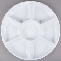 Fineline D16777.WH Innovative Caterware 16 inch Round White Plastic 7-Compartment Tray - 12/Case