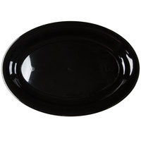 Fineline 483.BK Innovative Caterware 16 inch x 11 inch Black Plastic Oval Cater Tray - 25/Case