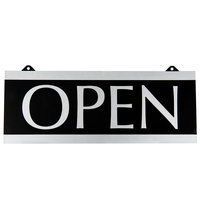 Headline Sign 4246 Century Series 13 inch x 5 inch Black Reversible Open / Closed Sign with Suction Mount