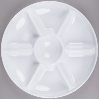 Fineline D14070.WH Innovative Caterware 14 inch Round White Plastic 7-Compartment Tray - 25/Case