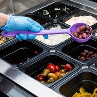 Carlisle 398189 Measure Misers 4 oz. Purple Allergen Free Long Handle Perforated Portion Spoon