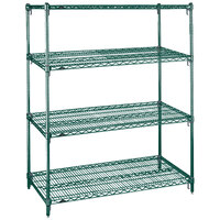 Metro A366K3 Super Adjustable Super Erecta 4-Shelf Metroseal 3 Wire Stationary Starter Shelving Unit - 18 inch x 60 inch x 63 inch