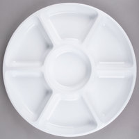 Fineline D18777.WH Innovative Caterware 18 inch Round White Plastic 7-Compartment Tray - 12/10081741002154 - 12/Case