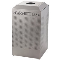 Rubbermaid DCR24C Silhouettes Silver Metallic 29 Gallon Recycling Receptacle for Cans / Bottles (FGDCR24CSM)