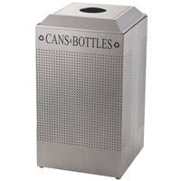 Rubbermaid FGDCR24CSM Silhouettes Silver Metallic 29 Gallon Recycling Receptacle for Cans / Bottles