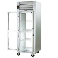 Traulsen G16005P 1 Section Half Solid Front, Half Glass Back Door Pass-Through Refrigerator - Left / Right Hinged Doors