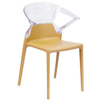 Flash Furniture FH-103-APC-GOLD-GG Fascination Gold Plastic Outdoor / Indoor Stackable Side Chair with Transparent Back