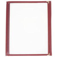 8 1/2 inch x 11 inch Three Pocket Clear Fold Over Menu Cover - Burgundy