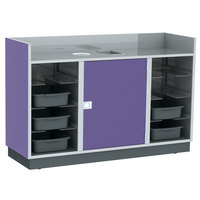 Lakeside 4618-P 69 3/4 inch Purple Laminate 8 Tub Mobile Bussing / Waitress Station