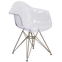 Flash Furniture FH-132-CPC1-GG Alonza Transparent Polycarbonate Side Chair with Gold Frame