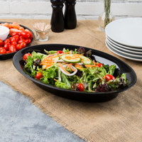 Fineline OVB09128.BK Innovative Caterware 128 oz. Black Plastic Oval Cater Bowl - 25/Case