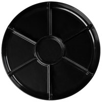 Fineline D18777.BK Innovative Caterware 18 inch Round Black Plastic 7-Compartment Tray