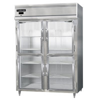 Continental DL2RES-SS-GD-HD 57 inch Half Glass Door Extra Wide Shallow Depth Reach-In Refrigerator