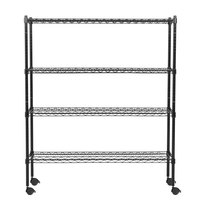 360 Office Furniture 14 inch x 48 inch Black Wire Shelving Unit with 54 inch Posts and Casters