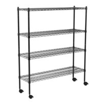 360 Office Furniture 18 inch x 48 inch Black Wire Shelving Unit with 74 inch Posts and Casters