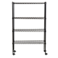 360 Office Furniture 14 inch x 36 inch Black Wire Shelving Unit with 54 inch Posts and Casters