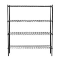 360 Office Furniture 18 inch x 48 inch Black Wire Shelving Unit with 74 inch Posts