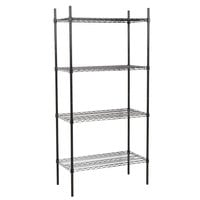 360 Office Furniture 18 inch x 36 inch Black Wire Shelving Unit with 74 inch Posts