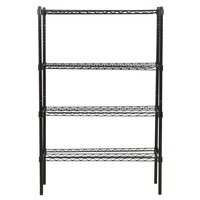360 Office Furniture 14 inch x 36 inch Black Wire Shelving Unit with 54 inch Posts
