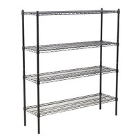 360 Office Furniture 14 inch x 48 inch Black Wire Shelving Unit with 54 inch Posts