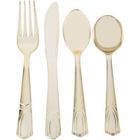 Gold Visions Heavy Weight Gold Look Plastic Basic Cutlery Set with Soup Spoons - 25/Pack