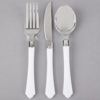 Silver Visions Heavy Weight White Handled Plastic Basic Cutlery Set (20 Sets / 60 Pieces Total)