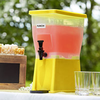Choice 3 Gallon Yellow Slim Beverage / Juice Dispenser