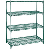 Metro A416K3 Super Adjustable Metroseal 3 4-Shelf Wire Stationary Starter Shelving Unit - 21 inch x 24 inch x 63 inch