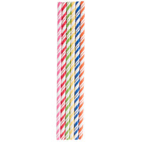 Creative Converting 090410 7 3/4 inch Jumbo Assorted Paper Straws - 24/Pack
