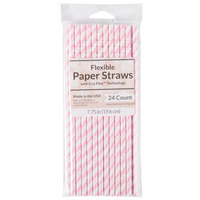 Creative Converting 091042 7 3/4 inch Jumbo Classic Pink / White Stripe Paper Straw - 24/Pack