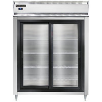 Continental DL2RES-SGD 57 inch Extra-Wide Shallow Depth Sliding Glass Door Reach-In Refrigerator