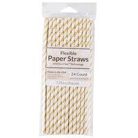 Creative Converting 315216 7 3/4 inch Jumbo Glittering Gold / White Stripe Paper Straw - 24/Pack