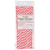Creative Converting 051151 7 3/4 inch Jumbo Classic Red / White Stripe Paper Straw - 24/Pack